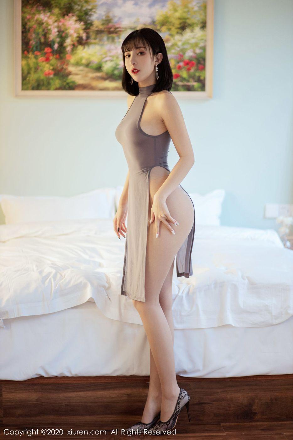 Vol.223 旗袍美女丝袜美腿翘臀腿控福利短发美女美女模特秀人网-陈小喵完整私房照合集
